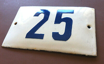 VINTAGE ENAMEL SIGN TIN PORCELAIN HOUSE NUMBER 25 DOOR GATE WHITE BLUE 1950's