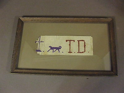 Antique Childs Framed Cross Stitch Made In 1870S