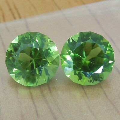 Arizona peridot 8mm round pair 4.70 carats USA precision cut