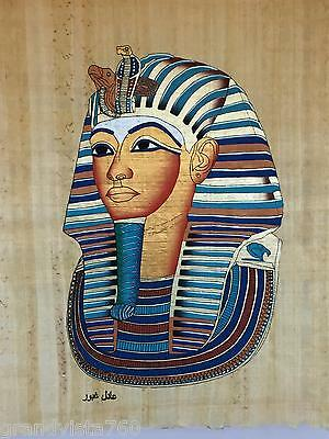 NEW HAND PAINTED EGYPTIAN PAINTING ON PAPYRUS TUTKing with Burial Mask A44