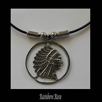 Choker #198 Pewter INDIAN CHIEF HEAD (38mm x 35mm) Silicon Cord Necklace unisex