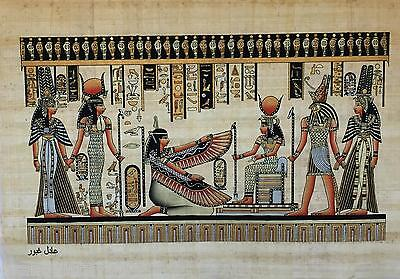 NEW HAND PAINTED EGYPTIAN PAINTING ON PAPYRUS Nefertari, Hathor, Ma'at, Isis A45