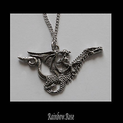 Pewter Necklace on Chain #118 Witch riding Dragon 48mm - chain 45cm