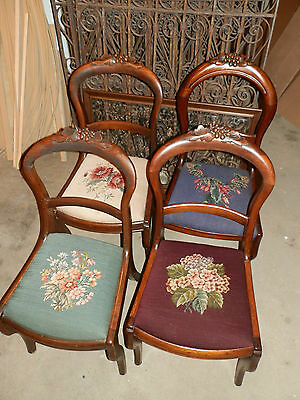 Set Of 4 Matching Antique Needlepoint Parlour Chairs