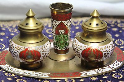 Asian Antique Cloisonne Incense 4 piece set.. Ethnic meditating IDOL, PRETTY!