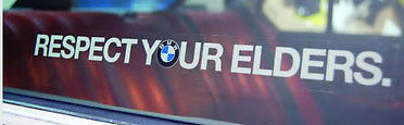 Respect Your Elders BMW Decal EURO Sticker for windshield  2x