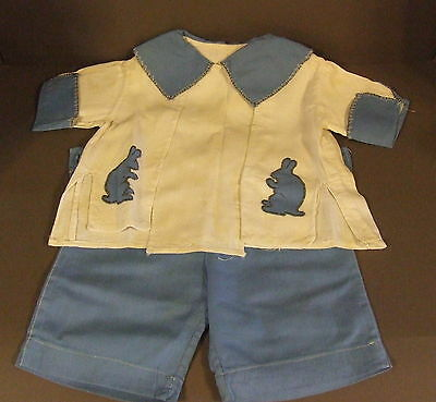 Antique Boys Childs Blue White Bunny Short Set W/ Picture Of Boy Wearing It