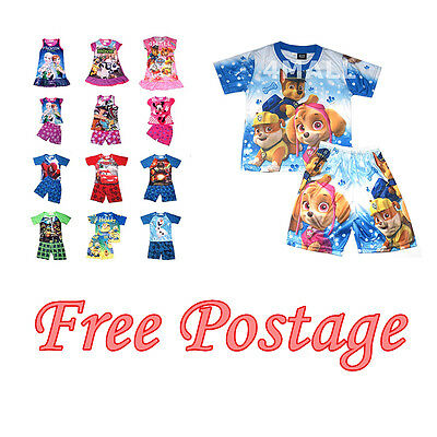 Kids Boys Girls Short Sleeve Summer PJ Pyjamas Outfits Sz T-Shirt Nighty Set