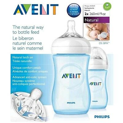 Philips Avent Natural Feeding Baby Bottle 260Ml X 2 Pack - Blue