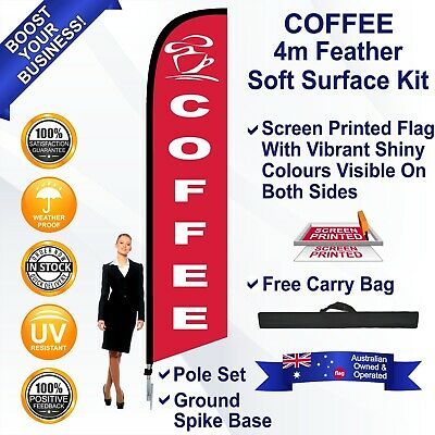 COFFEE Red 4m Feather Flag Kit with Ground Spike Outdoor Banner Sign