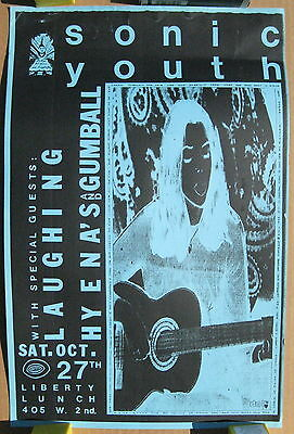 SONIC YOUTH Liberty Lunch AUSTIN 1990 CONCERT POSTER Laughing Hyena's GUMBALL