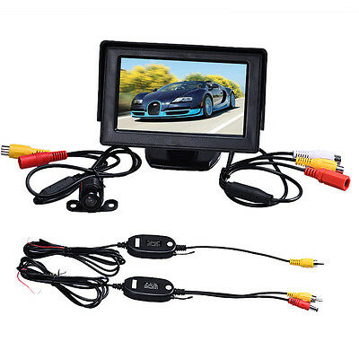 4.3 Inch TFT LCD Screen Monitor+Car Reverse Rearview Back Up Camera Wireless Kit