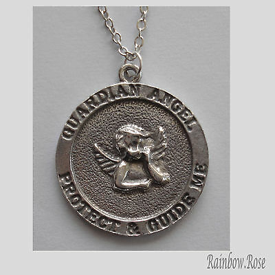Chain Necklace #102 Pewter GUARDIAN ANGEL MEDALLION (24mm)