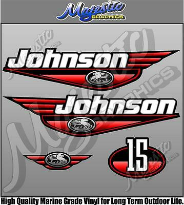 JOHNSON 15hp - RED DECAL SET - OUTBOARD DECALS