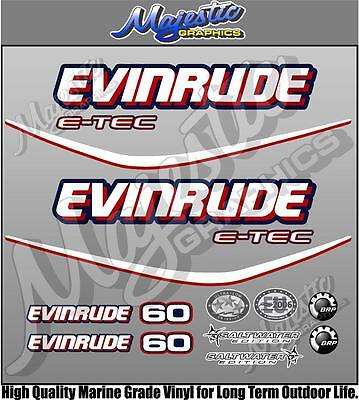 EVINRUDE ETEC 60hp - BLUE MOTOR DECAL SET - OUTBOARD DECALS