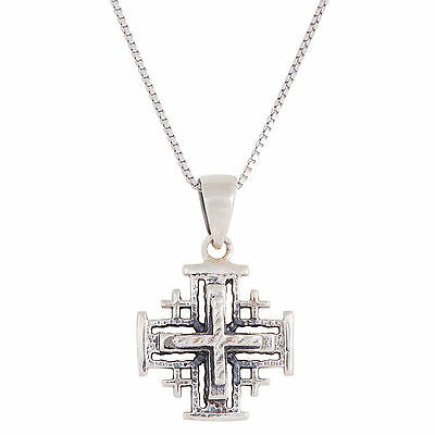 Sterling Silver JERUSALEM CROSS Pendant Blessed in Holy Sepulchre + Certificate