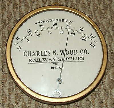 Antique 1910 Railroad R.R. Advertising Thermometer Charles Wood Railway Supplies