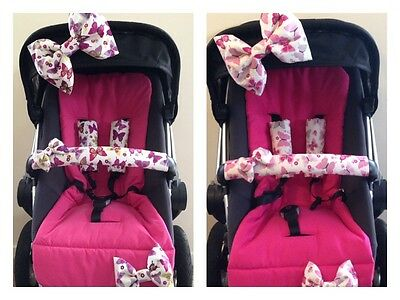 Handmade Pram Bows/Strap Covers/Bumper Bar Cover....'Flutterby' ...New  ~Vicki~