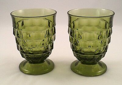 Pair of Vintage Whitehall Colony 9 oz. Avacado Green Footed Juice Glasses