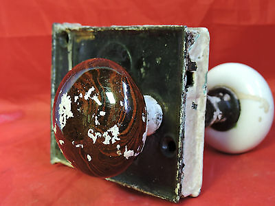 Antique Rim Lock Door Knob Set Lock Box Norwalk Brown Swirl Porcelain White