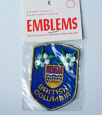 Vintage British Columbia Canada Embroidered Souvenir Patch Woven Cloth Badge