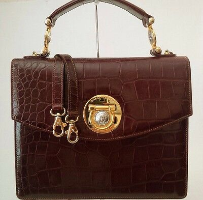 2946c81e GIANNI VERSACE VINTAGE Couture Medusa Croc Embsd Leather Brown Italy  Excellent
