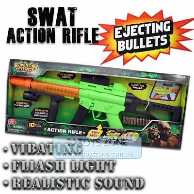 Real Sound & Light Vibrating Pretend Play Rifle Gun Toy For Children
