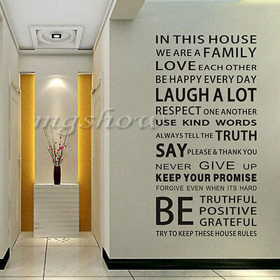 Wall Quote Art Decal Vinyl Sticker Removable Decor FAMILY HOUSE RULES PROMISE