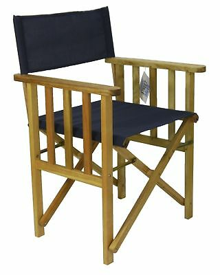 New Timber frame DIRECTORS CHAIR Navy Blue Deck Folding Outdoor Furniture