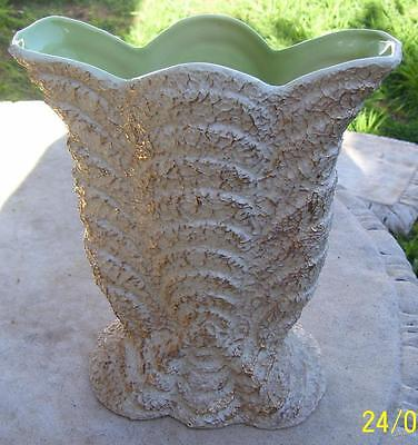 Vintage Pates Australian Pottery Textured Vase With Gold Highlights