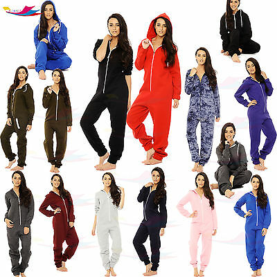 057fe76fd203 Womens Onsie1 jumpsuit one piece Pyjama Sleepwear hoodie track suite lot  sizes