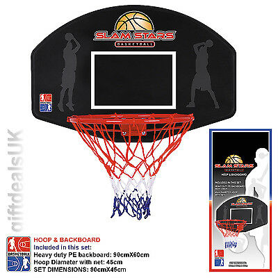 Slamstars Basketball Backboard Wall Mounted Full Size Hoop With Net Outdoor Game