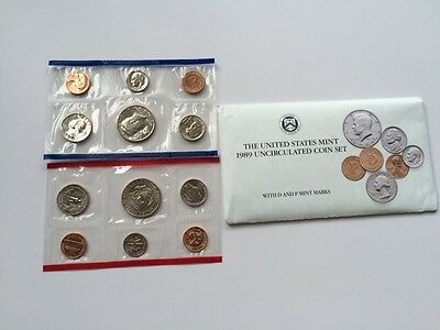 1989 United States Mint Uncirculated Coin Set with D and P Marks