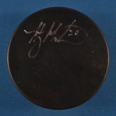 MANNY MALHOTRA Autographed Signed Gufex Official Hockey Puck COA CANADIANS