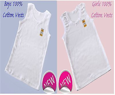 3 / 6/ 12  Girls And Boys 100% SOFT COTTON VESTS 2 3 4 5 6 7 8 9 10 11 12 13 YRS