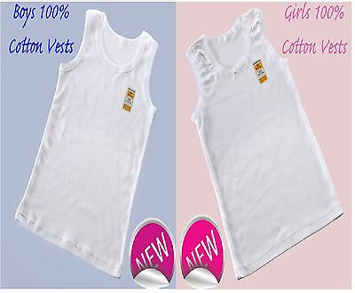 3  Girls And Boys 100% SOFT COTTON VESTS 2 3 4 5 6 7 8 9 10 11 12 13 YRS