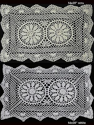 """Handmade Cotton Crochet Lace Placemat 14x20"""" Beige or White Tray Cloth Doily"""