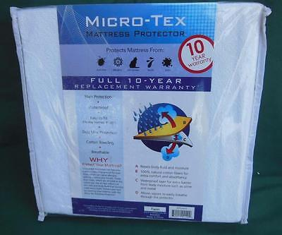 Micro-Tex Cotton Mattress Protector Size Twin Dust Mite Pet Dander Protection