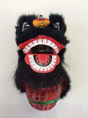 Bouncing Chinese New Year Lion Dragon Head Dance Decoration Black