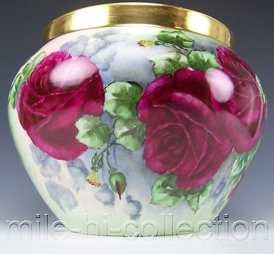 Limoges France Hand Painted Red Roses Large Jardinière Planter Artist E. Zoost