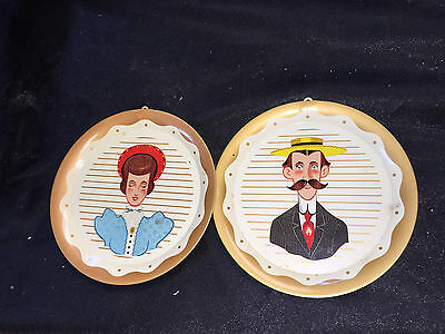 "2 Vintage Husband And Wife 5"" Flue Covers"
