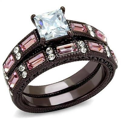His Hers Black Stainless Steel Princess CZ Pink Wedding Engagement 3 pc Ring Set