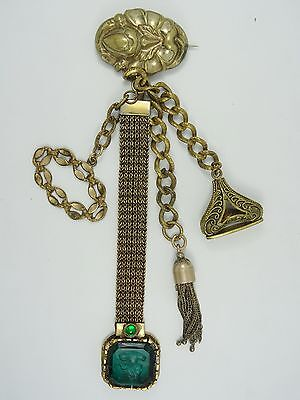 STUNNING VICTORIAN REPOUSSE CHATELAINE with FREEN CAMEO ETCH GLASS