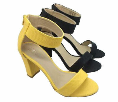 3891c04cf6bb6f Ladies Shoes Inniu Catwalk Fawn Black Or Yellow Zip Up Heels 5-10 Sandals