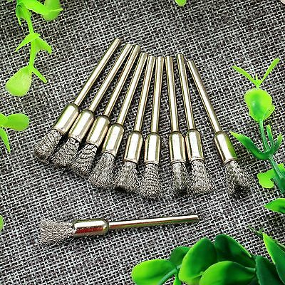 10Pcs Pen Shape Stainless Wire Drill Polishing Brush 3mm Shank for Rotary Tool