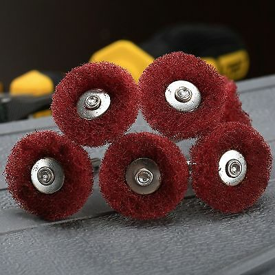 10Pc Red Abrasive Scouring Pads Polishing Buffing Shank Wheel For Grinder Rotary
