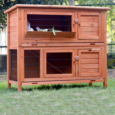 Giant DOUBLE RABBIT HUTCH  GUINEA PIG CAGE w Plastic tray!