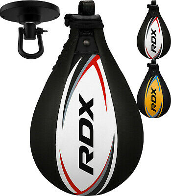 RDX Leather Boxing Speed Ball & Swivel Punch Bag Training MMA Punching S2