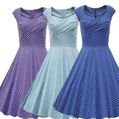 Women's Polka Dot 1950s Vintage Retro Rockabilly Capshoulder Swing Party Dress