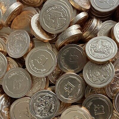 Milk Chocolate Gold Foil Covered Money £1 One Pound Coins Sweets Qty 10 - 200